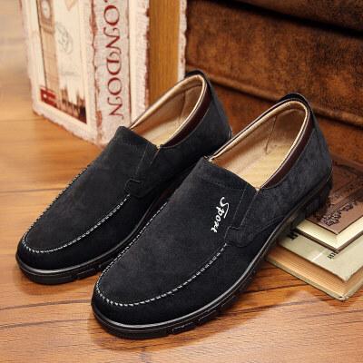 男款春秋男鞋透气单鞋中老年人爸爸鞋子男士休闲鞋 黑色 39