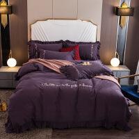 全棉磨毛荷叶边绣花四件套 纯棉冬季加厚保暖套件 全棉磨毛4件套 2米宽床 床单款