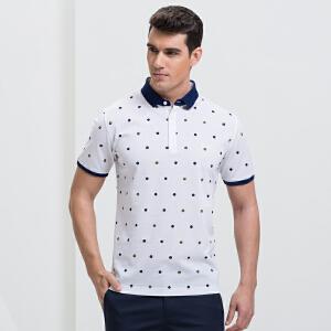 才子男装(TRIES)POLO衫 男士2017年新款时尚圆点修身简约短袖休闲POLO衫