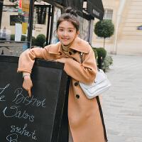 2018流行大衣毛呢外套中长款小个子韩版收腰秋冬季双面羊绒大衣女 奶茶色