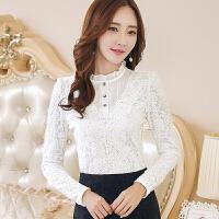 卡茗语秋冬款女装加绒蕾丝衫长袖半高领修身显瘦大码打底衫保暖上衣
