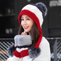 毛线帽子女秋冬季新款韩版百搭针织帽护耳青年防寒保暖帽加绒女士