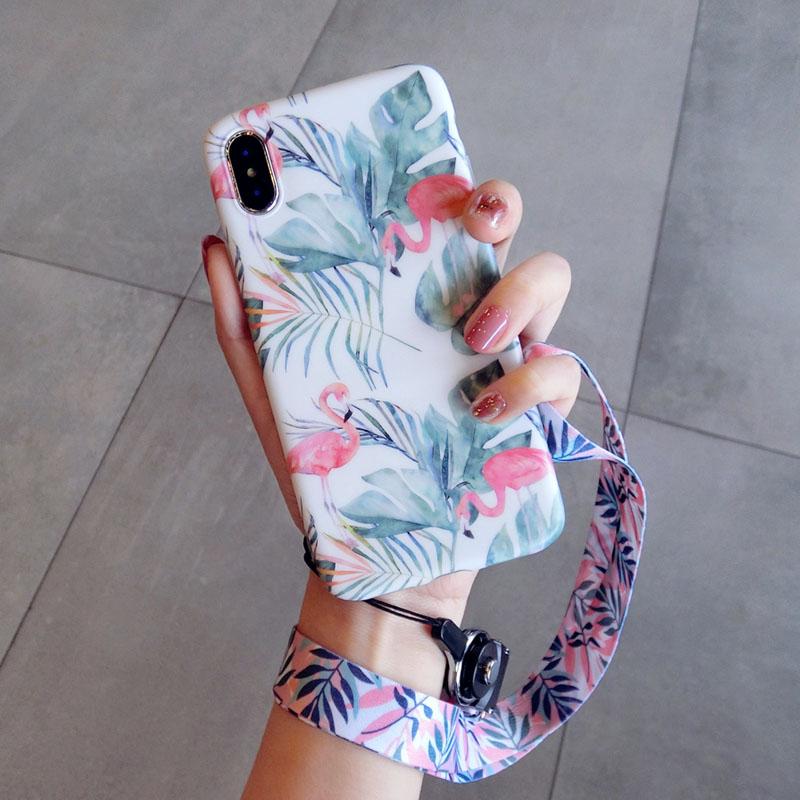 火烈鸟挂绳苹果x手机壳软硅胶7plus防摔iphone6s新款8p潮牌女 6/6S 4.7寸 火烈鸟群