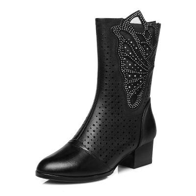 舒适好看!时尚新品2019新款靴子女中筒靴真皮网靴高跟粗跟马丁靴镂空凉靴中跟单皮靴青春靓丽 黑色