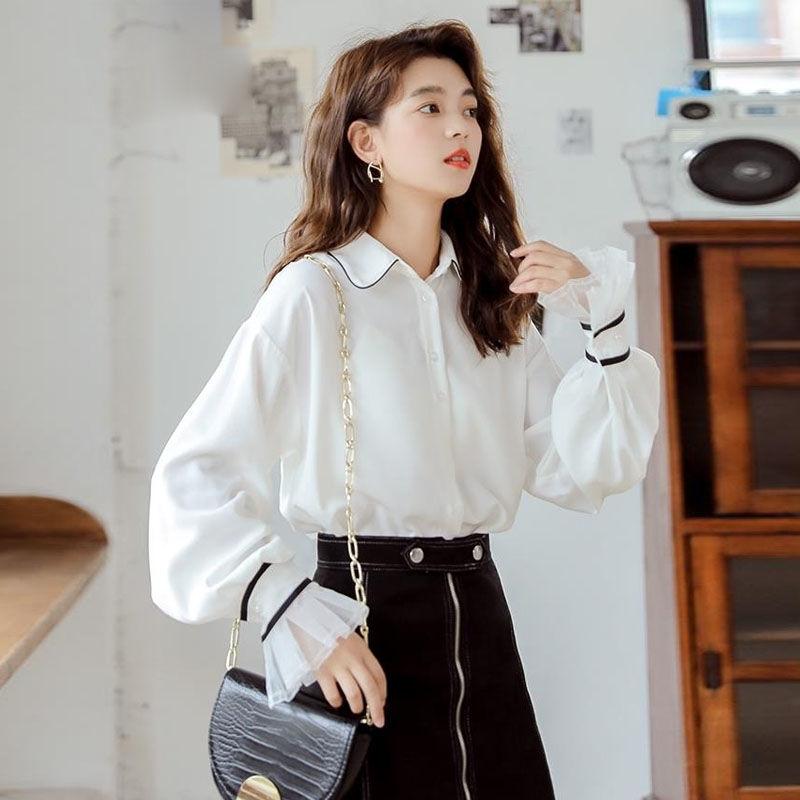 白色衬衫女装2019秋季设计感小众衬衣复古港味喇叭袖常规袖上衣 白色