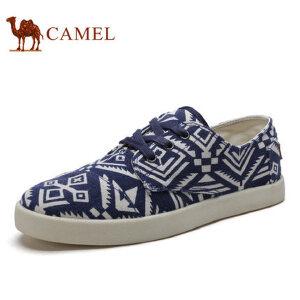 camel骆驼男鞋 低帮系带帆布鞋 印花透气松紧日常休闲系带男鞋