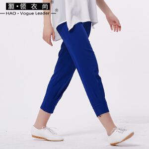 女装2018新款修身显瘦女士休闲裤九分小脚裤女
