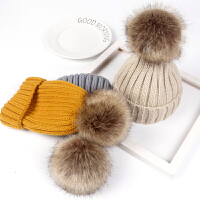 儿童秋冬韩版保暖男童女童婴幼儿针织毛线套头帽子宝宝毛球帽潮款