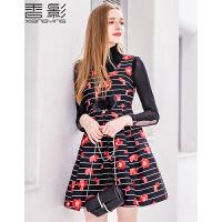 香影气质印花连衣裙套装女 2017春装新款韩版时尚收腰显瘦两件套