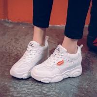 白色运动鞋女2019春款8cm内增高小白鞋ins百搭显瘦增高网面小熊鞋
