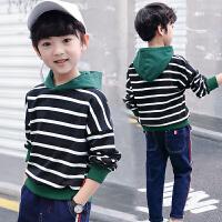 童装男童卫衣中大童儿童潮衣小男孩时尚连帽条纹上衣