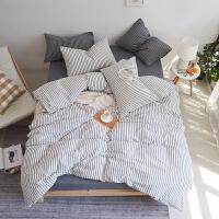 日式良品水洗棉四件套 简约格子纯棉被套 全棉学生宿舍三件套床品 2.0m床(被套:220x240cm) 床笠款