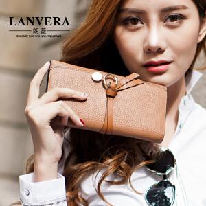 【支持礼品卡】LANVERA 2017新款欧美真皮钱夹长款简约女士手包头层牛皮钱包 L6601