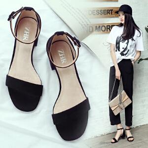 韩版一字学生露趾凉鞋女拼色简约粗跟女鞋搭扣包跟休闲凉鞋F12