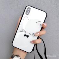 猫咪玻璃壳挂绳苹果xs硅胶7plus潮牌iphone86s可爱卡通新款女 6/6s 4.7寸