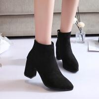 新款冬季chic短筒ins马丁靴英伦风切尔西短靴女粗跟春秋百搭棉靴