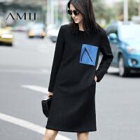 【1件8折/2件6折】AMII[极简主义]冬季新品纯色个性装饰圈圈毛呢连衣裙短裙女装