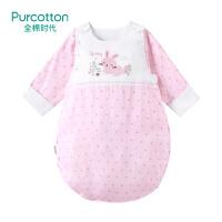 全棉时代 婴儿纱布侧开睡袋宝宝防踢被(粉色小花朵)1件装