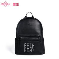 【支持礼品卡支付】epiphqny重生2017新款韩版日系书包黑色百搭学院风字母女学生双肩包51206
