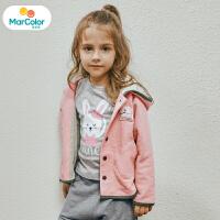 马卡乐童装女宝宝2019秋季新款女童立体玩偶斗篷式廓形长袖外套