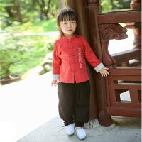 汉服童装儿童唐装男童套装女童春秋中国风宝宝中式衣服复古民族风2018新品