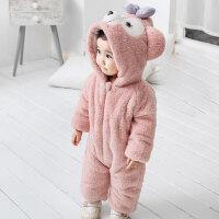 婴儿冬装秋冬季加厚连体衣外出服七八月女男宝宝可爱动物造型衣服