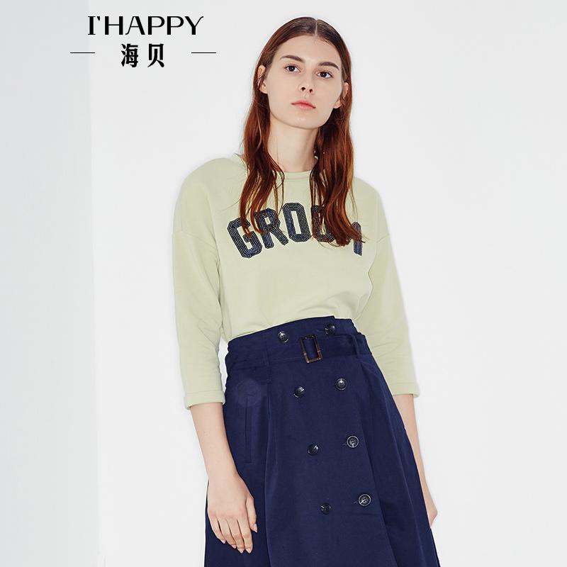 海贝2017年秋季新款女装 圆领亮片字母装饰休闲T恤套头九分袖