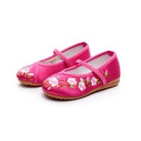 汉服女童老北京儿童布鞋民族风宝宝公主鞋学生古装表演出鞋 玫