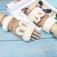 手套女冬季保暖可爱韩版卡通日系学生露指加厚毛线半指打字办公室