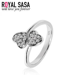 皇家莎莎心形简约戒指女925仿水晶手工微镶指环日韩版个性配饰品