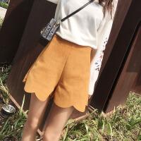 谜秀休闲裤女秋季2017新款韩版百搭高腰麂皮绒花边阔腿裤短裤子潮