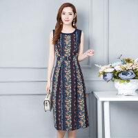 韩版新款大码中长款无袖女士连衣裙背心裙 拼接显瘦印花雪纺连衣裙女