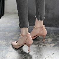 鞋子女学生韩版高跟鞋女细跟2019春季新款尖头一字扣带中空单鞋女 粉色 7cm