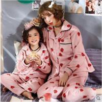 秋冬季珊瑚绒加绒加厚儿童法兰绒女孩家居服套装母女亲子睡衣女童