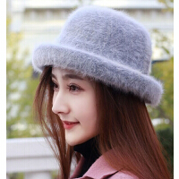 韩版时尚礼帽兔毛帽针织帽女士 新款时装帽加绒瘦脸百搭帽
