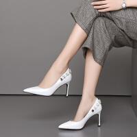 女鞋8.5cm高跟鞋2019新款头层牛皮女士尖头细跟饰片时尚商务休闲皮鞋女