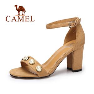 camel骆驼女鞋  夏季新款韩版绒面凉鞋女 舒适方跟高跟凉鞋