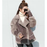 韩版鹿皮绒羊羔毛外套女冬季女装中长款拼接机车冬装加厚棉衣 咖啡色 XS