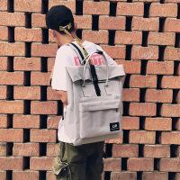 韩版学院风帆布双肩包大容量书包女日系BF情侣背包学生手提电脑包