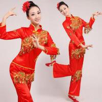 民族古典扇子舞表演服 秧歌服新款大码中老年舞蹈演出服装