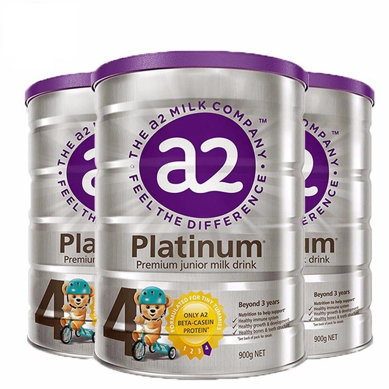 【4段】澳洲直邮/保税区发货 A2 Platinum艾尔 白金版婴儿牛奶粉新版紫盖 四段 (3岁以上) 900g*3罐 海外购需提供身 份 证正反照片,效期19.7