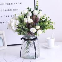 仿真花束小玫瑰绣球混搭绿植装饰盆栽室内客厅清新大气玻璃花瓶