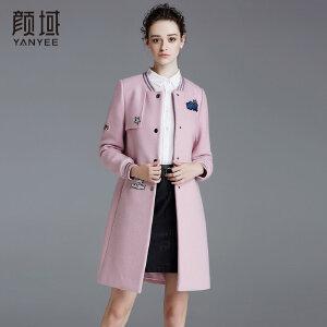 颜域品牌女装2017冬季新款直筒罗纹圆领修身大衣中长款呢子外套女