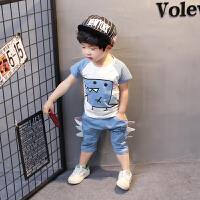 童装男童女宝宝夏装套装夏季衣服婴儿童短袖两件套0-1-2-3-4岁半 冰海蓝 夏孔龙