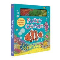 Fuzzy Ocean 海洋动物认知 毛绒静电贴玩具书 场景游戏贴贴乐 儿童英语读物 英文原版进口图书