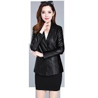 皮衣女短款2019韩版中年修身秋季女装PU女士大码皮夹克外套女 L (80-96)