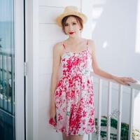 波西米亚海边度假沙滩短裙露肩碎花吊带雪纺连衣裙女夏 樱花粉