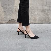 2019早春新款尖头女单鞋性感细跟高跟鞋侧空一字扣带细带凉鞋