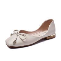 仙女鞋温柔平底夏季单鞋2019新款浅口豆豆鞋女奶奶鞋粗跟女鞋