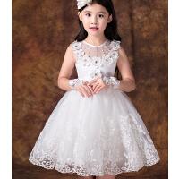 儿童礼服演出服蓬蓬裙 白色花童婚纱公主裙 时尚女童主持晚礼服拖尾